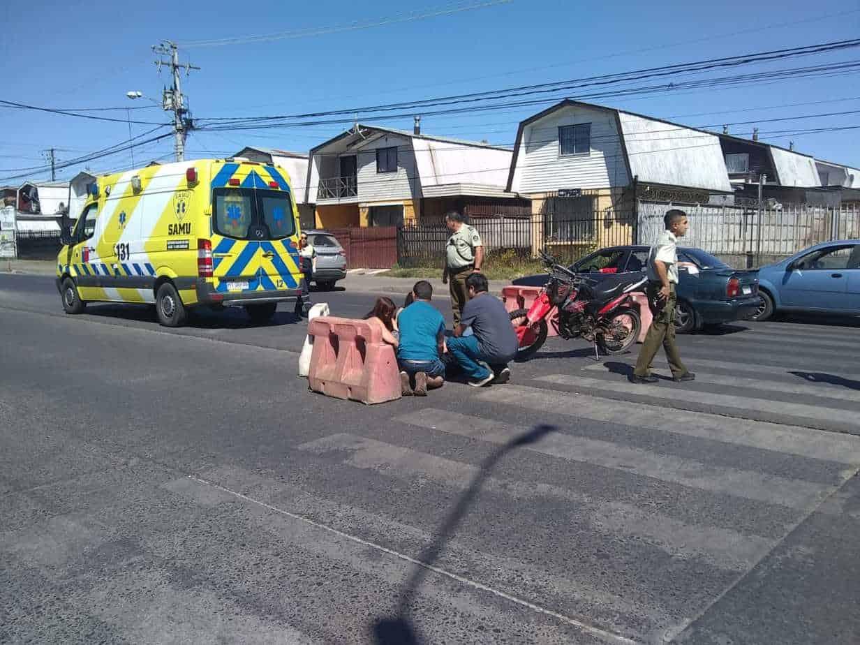 Motorista resulta lesionado tras ser impactado por automóvil en Paillihue