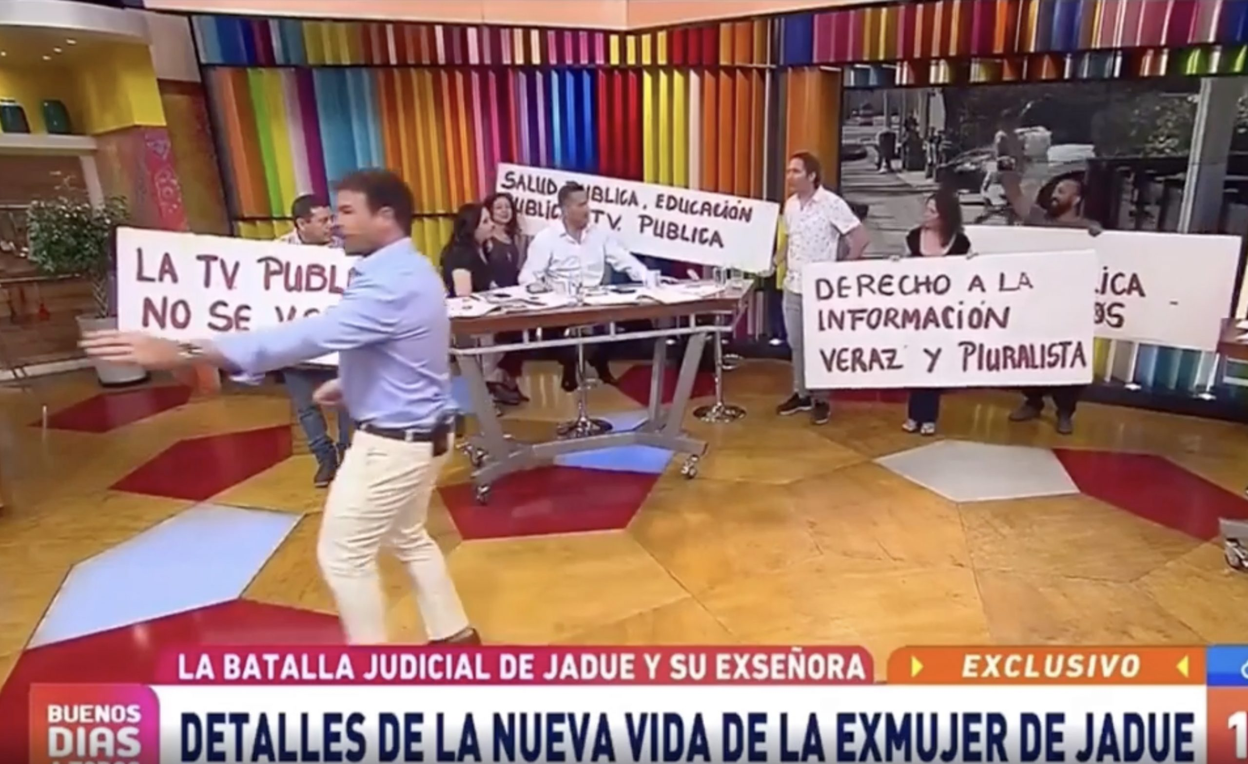Trabajadores «funan» a TVN en medio del Buenos Días a Todos