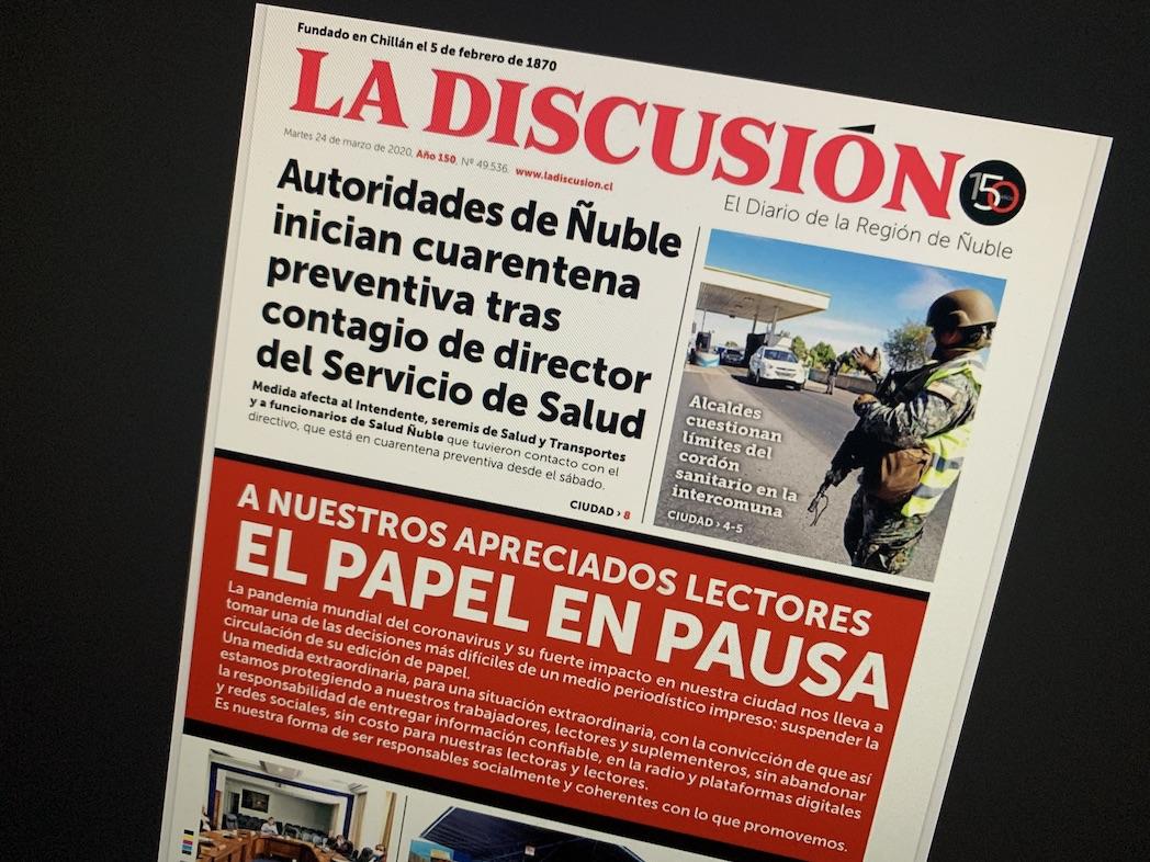 La Discusión suspende su edición impresa por crisis del Coronavirus en Ñuble