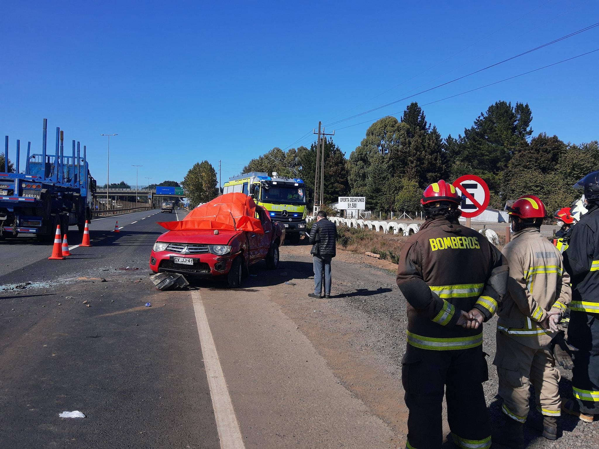 Un muerto y un herido deja accidente en la ruta 5 en la provincia de Malleco
