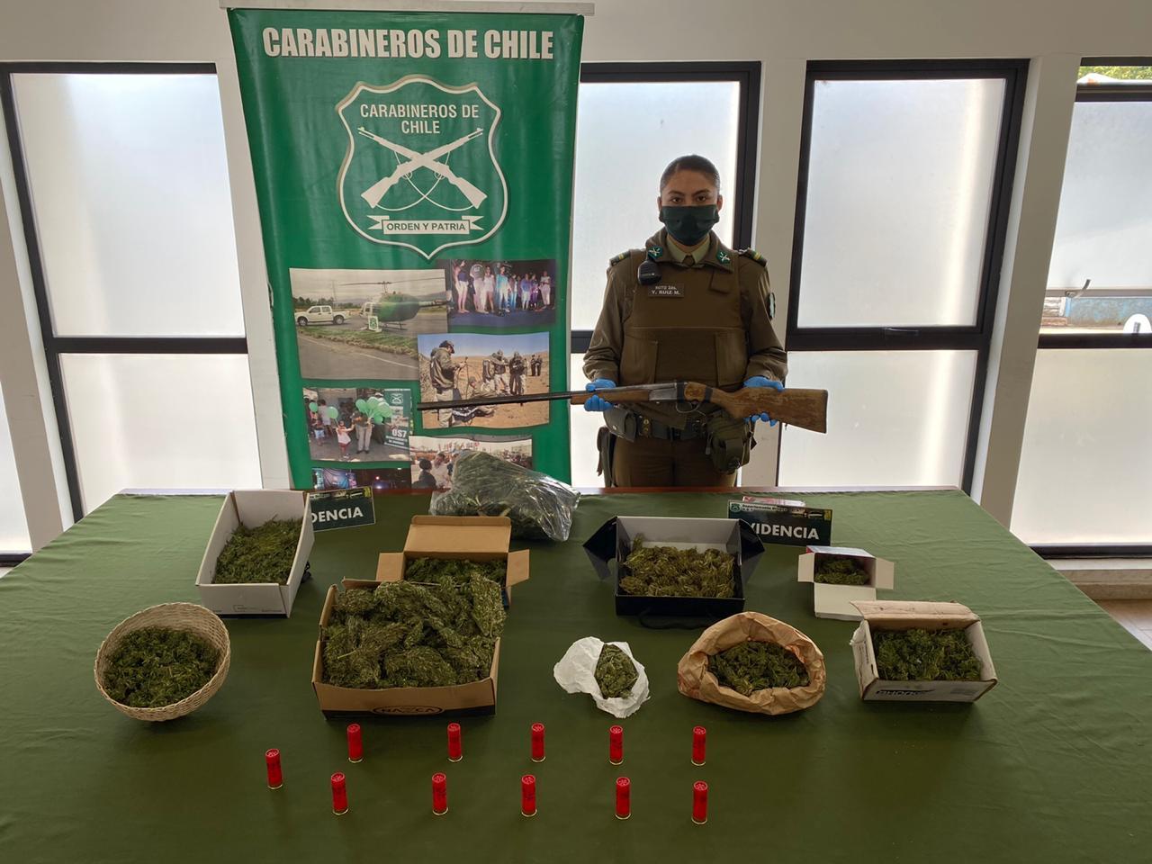 Adulto mayor es detenido con más de dos kilos y medio de marihuana en Mulchén