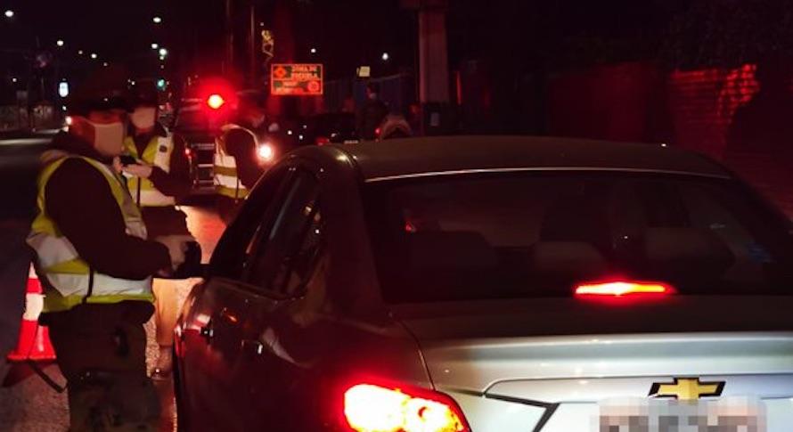 Conductor drogado:  SIP detiene a 4 personas en pleno centro de Los Ángeles con marihuana