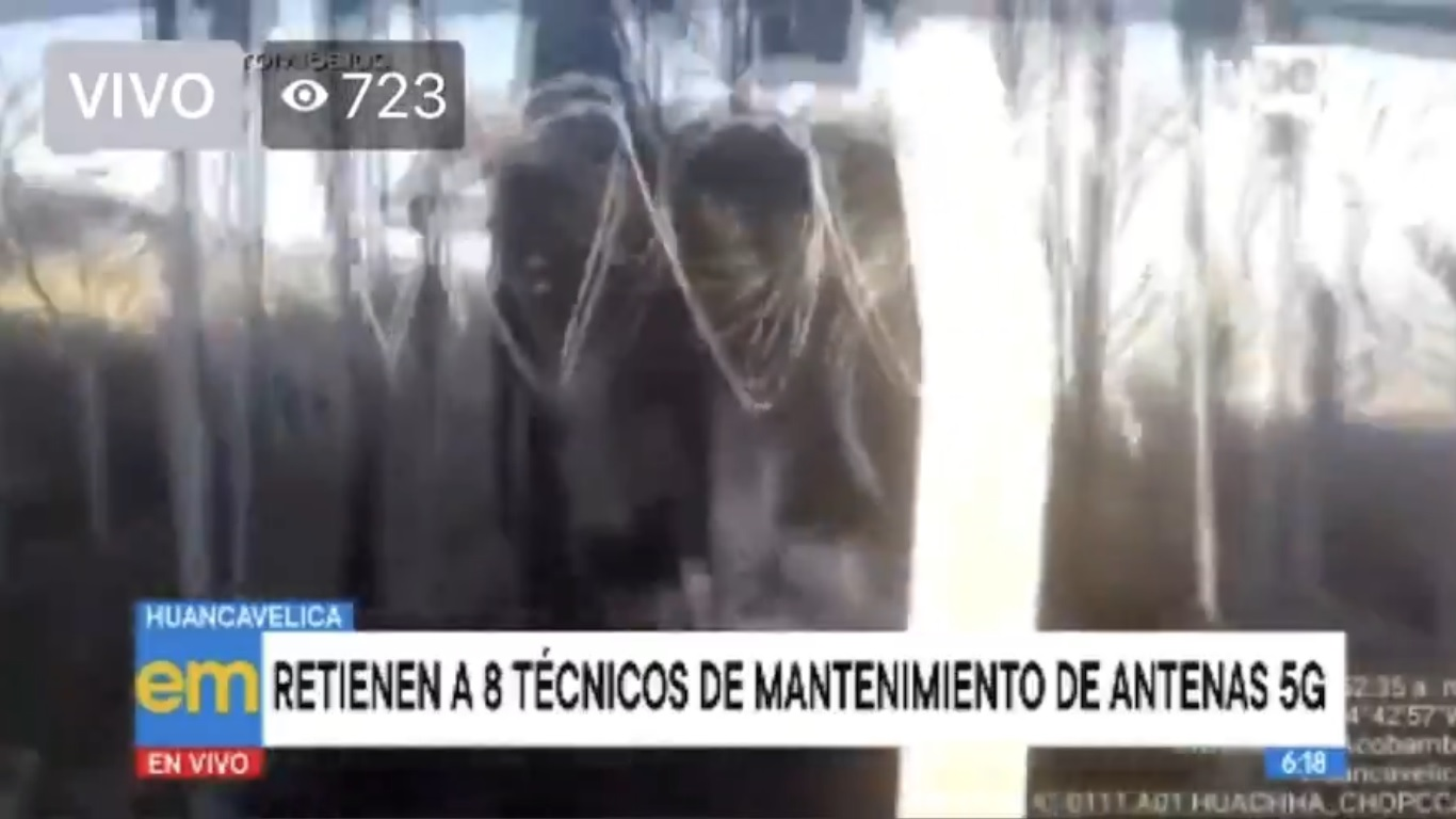 Perú: retienen a trabajadores y queman antena asegurando que el 5G transmite el Coronavirus