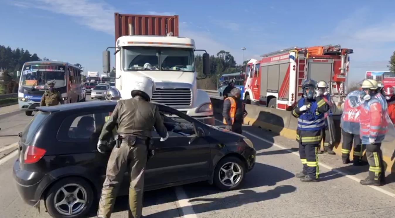 Colisión en Autopista Concepción-Talcahuano provoca gigantesco taco
