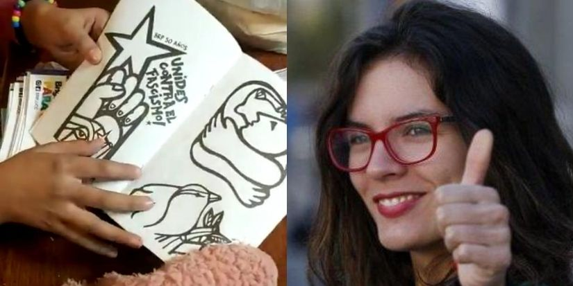 Denuncian adoctrinamiento en libros para colorear que regaló Camila Vallejo a niños