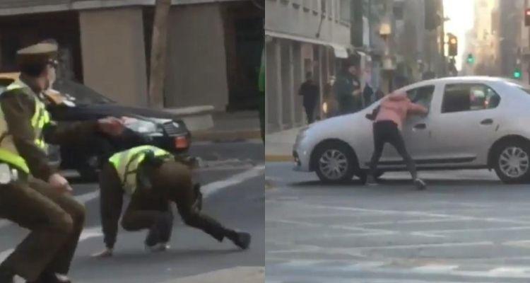 Sujeto esquivó carabineros  y saltó al interior de un auto en movimiento para escapar