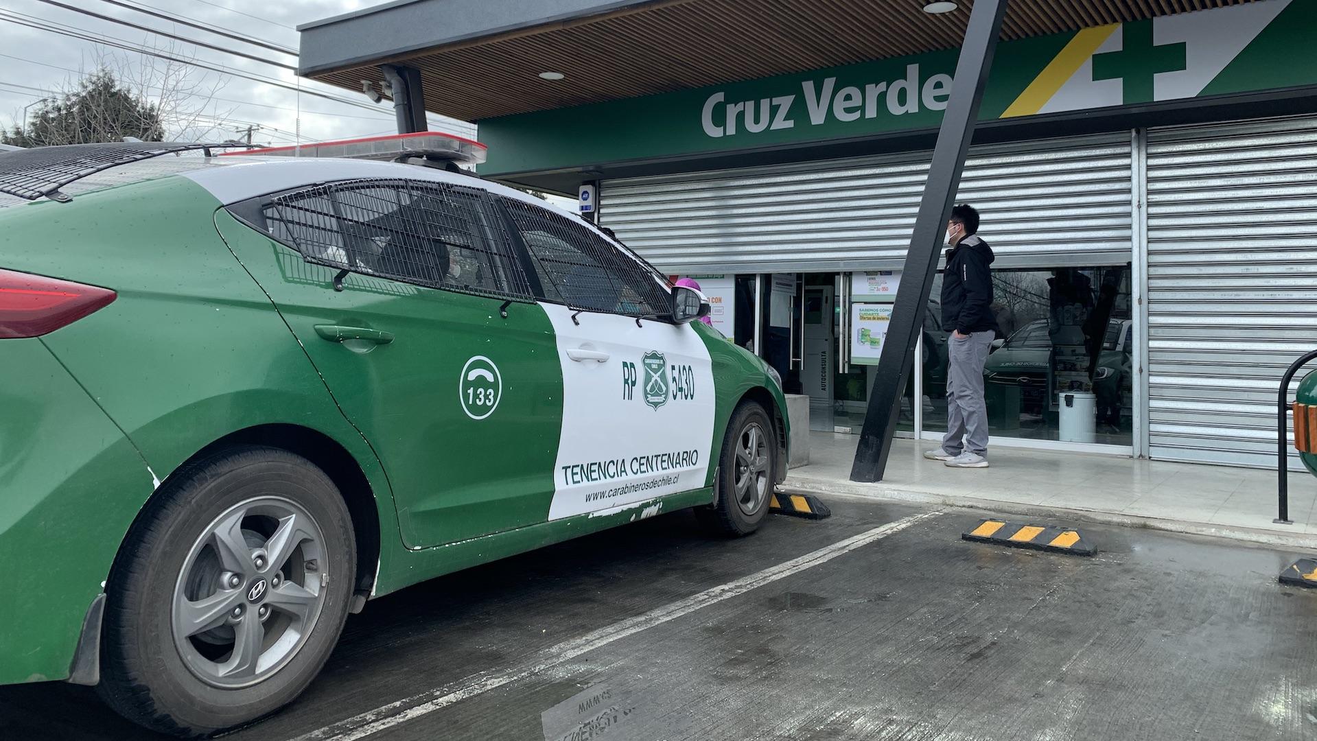 Robo Farmacia Cruz Verde en Los Ángeles: No pudieron abrir la caja fuerte