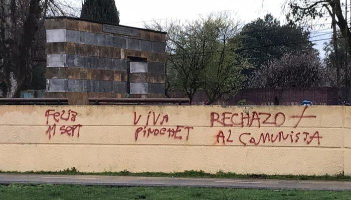 «Rojos al mar»: memorial de Detenidos Desaparecidos en Temuco amaneció con ofensivos mensajes