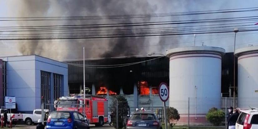 Gran incendio afecta planta pesquera cercana a viviendas en Talcahuano