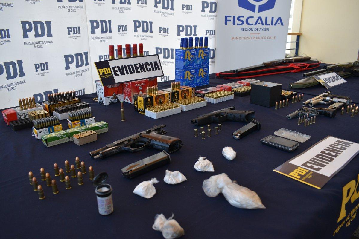 Coyhaique: PDI saca de circulación armas de fuego, municiones y dosis de cocaína