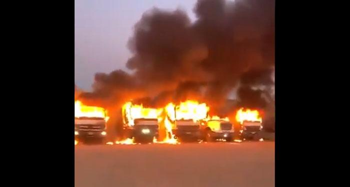 Ataque incendiario en Angol deja por lo menos 15 camiones quemados