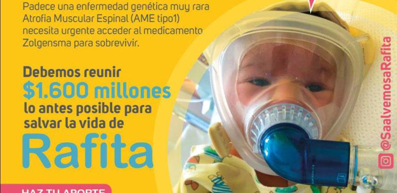 'Salvemos a Rafita»: campaña reúne fondos para comprar medicamento de 1.600 millones a un bebé