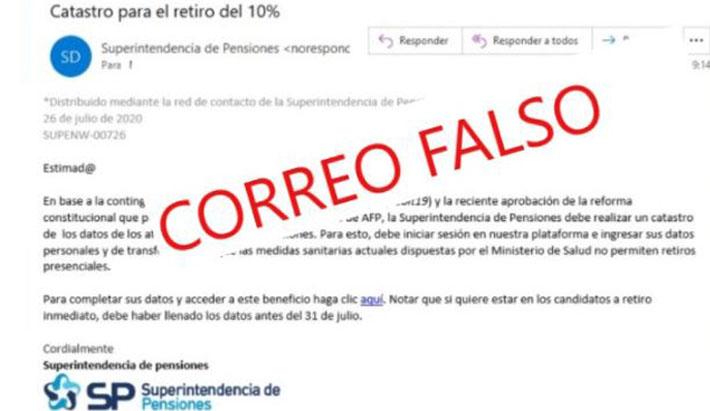 Atención: alertan de estafa por el  retiro del 10% a través de correo electrónico