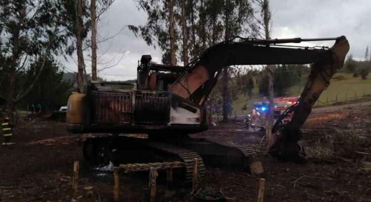 Ataque incendiario en Osorno dejó 4 máquinas forestales destruidas