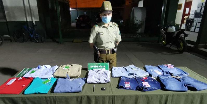 Los Ángeles: sorprenden a conocido delincuente con más de 400 mil pesos en ropa robada