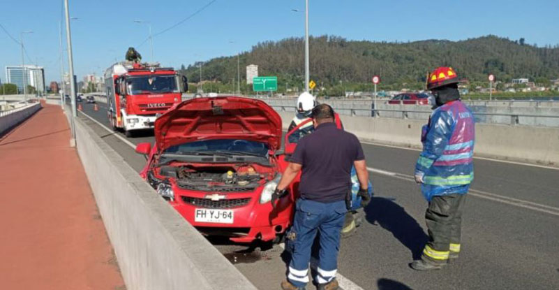 Sujetos chocaron con muro de contención en el Puente Chacabuco y dejaron su auto abandonado