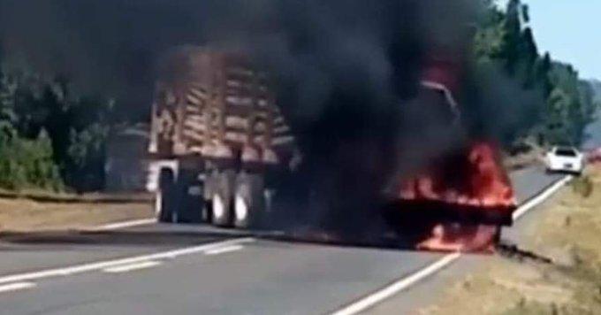 Desconocidos incendiaron camión forestal en Tirúa
