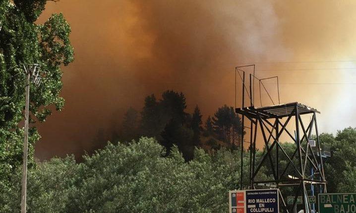 La Araucanía: Evacúan sector Las Toscas en Collipulli por incendio forestal