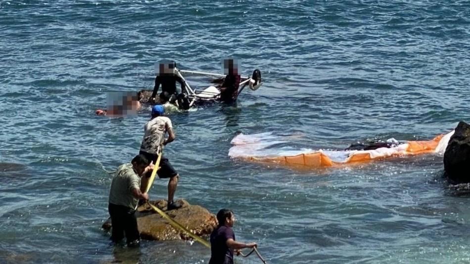 Paseaban en parapente y cayeron al mar: 2 personas tuvieron que ser rescatadas